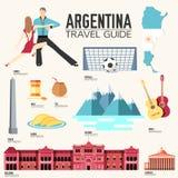 Гид каникул перемещения Аргентины страны товаров, мест и характеристик Комплект архитектуры, моды, людей, деталей или Стоковое Изображение