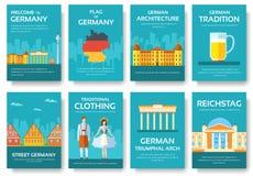 Гид каникул перемещения Германии страны товаров, мест и характеристик Комплект архитектуры, моды, людей, деталей, природы Стоковые Изображения RF