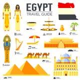 Гид каникул перемещения Египта страны товаров, мест и характеристик Комплект архитектуры, люди, культура, значки Стоковое Фото