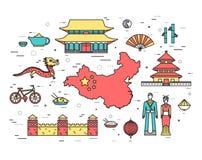 Гид каникул перемещения Китая страны товаров, мест в тонких линиях стиле конструирует Комплект архитектуры, моды, людей Стоковые Фотографии RF