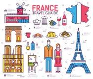 Гид отключения Франции страны товаров, мест в тонких линиях стиле конструирует Комплект архитектуры, моды, людей, природы Стоковое Изображение