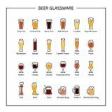 Гид стеклоизделия пива, покрашенные значки на белой предпосылке вектор Стоковые Фото