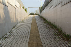 Гиды тротуара для шторок Желтые конкретные булыжники на дорожке для людей слепоты стоковое фото rf