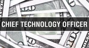 Главная концепция крупного плана офицера технологии Американские доллары денег наличных денег, перевода 3D Главный офицер техноло стоковое фото rf