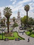 Главная площадь и собор города Arequipa стоковые фотографии rf