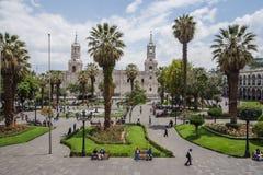 Главная площадь и собор города Arequipa стоковое изображение