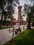 Главная площадь Vicuña, с башней ратуши стоковое фото