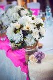 Главная таблица на свадьбе - свадебный пирог Стоковые Фото