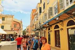 Главная улица Корфу Греция Стоковая Фотография RF
