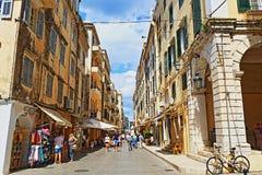 Главная улица Корфу Греция Стоковое фото RF