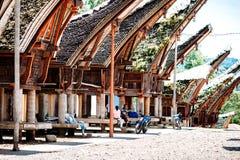 Главная улица традиционной деревни Tana Toraja с буйволом на переднем плане, tongkonan дома Индонезия, Сулавеси, Rantepao Стоковое Фото