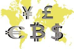 Главные глобальные валюты Стоковые Изображения RF