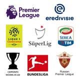 Главные логотипы национальных лиг футбола UEFA Иллюстрация вектора