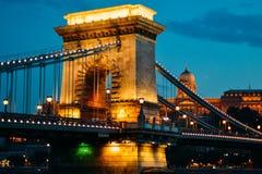 Главный мост Будапешта в вечере Стоковое Изображение RF