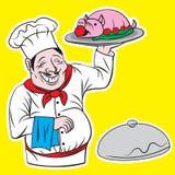 Главный повар с персонажем из мультфильма иллюстрации подноса бесплатная иллюстрация