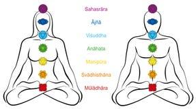 7 главных пар человека женщины имен Chakras санскритских иллюстрация вектора