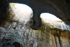 Глаза бога, пещеры Prohodna, Болгарии Стоковое фото RF