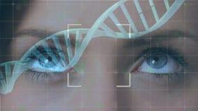 Глаза и двойная спираль ДНК иллюстрация штока