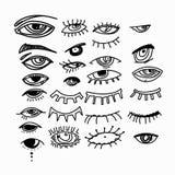 Глаза и собрание вектора значка глаза установленное Значки посмотрите и зрения Изолированная иллюстрация вектора для плаката, тат бесплатная иллюстрация