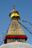 Глаза премудрости Будды stupa bodhnath в Катманду, Непале Стоковое Изображение RF