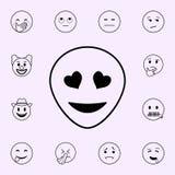 глаза со значком сердец Набор значков Emoji всеобщий для сети и черни иллюстрация вектора