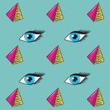 глаза 90s и предпосылка картины пирамид иллюстрация штока
