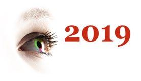 Глаз красочной радуги женский и покрашенный 2019 брызгая иллюстрация вектора