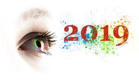 Глаз красочной радуги женский и покрашенный 2019 брызгая бесплатная иллюстрация