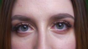 Глаз-портрет конца-вверх молодой коммерсантки раскрывает глаза и усмехается мило в камеру сток-видео