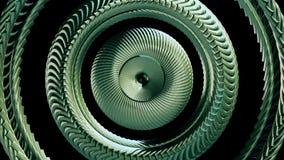 Глаз цепи металла жидкости двигая вращая зеленый объезжает качество безшовной предпосылки графиков движения анимации 3d петли нов иллюстрация штока