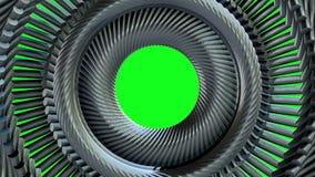 Глаз цепи металла жидкости двигая вращая золотой объезжает безшовные графики движения анимации 3d петли на зеленой предпосылке но сток-видео