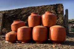 Глиняные горшки - Индия Стоковое Фото