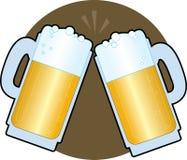 глиняные кружки пива иллюстрация вектора