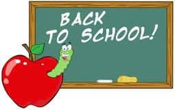 Глист в Apple перед доской мелка школы Иллюстрация штока
