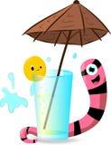 Глист и помеец около стекло под зонтиком Стоковая Фотография