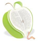 глист чтения книги яблока Стоковые Фотографии RF