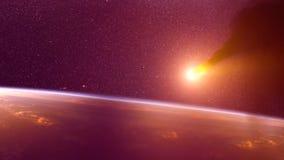 Глобальная авария - столкновение астероида с землей Метеорит нагревая вверх как он падение в атмосферу ` s земли Стоковое Фото