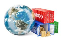 Глобальная концепция грузовых перевозок и поставки Глобус земли с автомобилем бесплатная иллюстрация