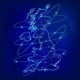 Глобальная концепция сети снабжения Карта сети связей Великобритании на предпосылке мира Великобритания большого Стоковое фото RF