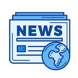 Глобальная линия значок новостей Стоковое Изображение RF
