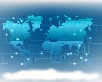 Глобальная линия sys информационной сети данным по облака карты мира качества иллюстрация вектора
