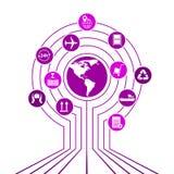 Глобальная сеть снабжения Соединение партнерства снабжения карты глобальное Белые подобные значки карты и снабжения мира Стоковые Фотографии RF