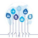 Глобальная сеть снабжения Соединение партнерства снабжения карты глобальное Белые подобные значки карты и снабжения мира Стоковое фото RF