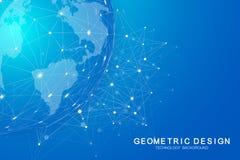 Глобальное международное blockchain с картой мира Современные будущие планеты космоса финансы технологии низко поли современные б иллюстрация штока