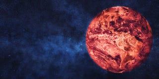 глобальное потепление принципиальной схемы Земля планеты в пламенах Стоковое фото RF
