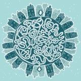 Глобальный город в игре лабиринта зимы Стоковые Фотографии RF