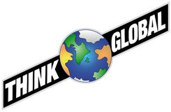 Глобальный - знамя с землей Стоковое Изображение