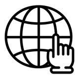 Глобальный значок щелчка руки, стиль плана иллюстрация штока