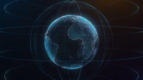 Глобальный infographic hologram Концепция технологии Hologram планеты Улучшите для вступления деловых новостей ТВ bluets Стоковые Фото