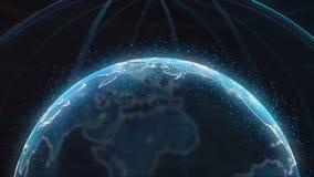 Глобальный infographic hologram Концепция технологии Hologram планеты Улучшите для вступления деловых новостей ТВ bluets Стоковое фото RF